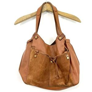 Lucky Brand Brown Leather Suede Bucket Bag Purse